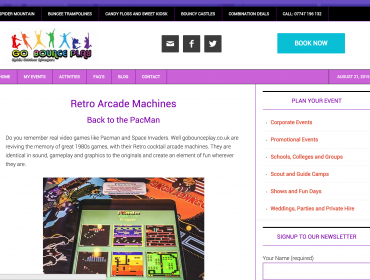 Retro Arcade Machines Page from GoBouncePlay